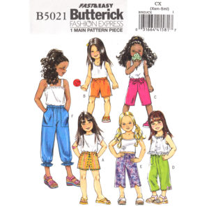 Butterick 5021 girls pants shorts pattern