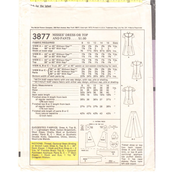 M3877 dress top pants pattern