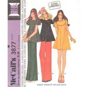 McCalls 3877 dress top pants pattern