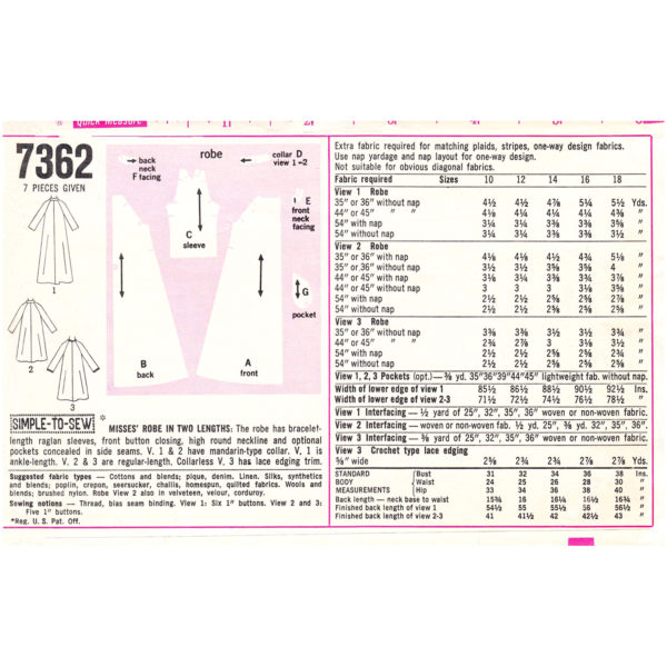 S7362 robe sewing pattern