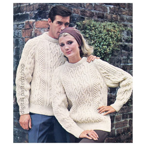 unisex irish fisherman sweater knitting pattern