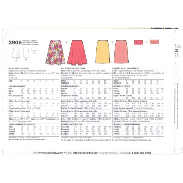 S2906 skirt sewing pattern