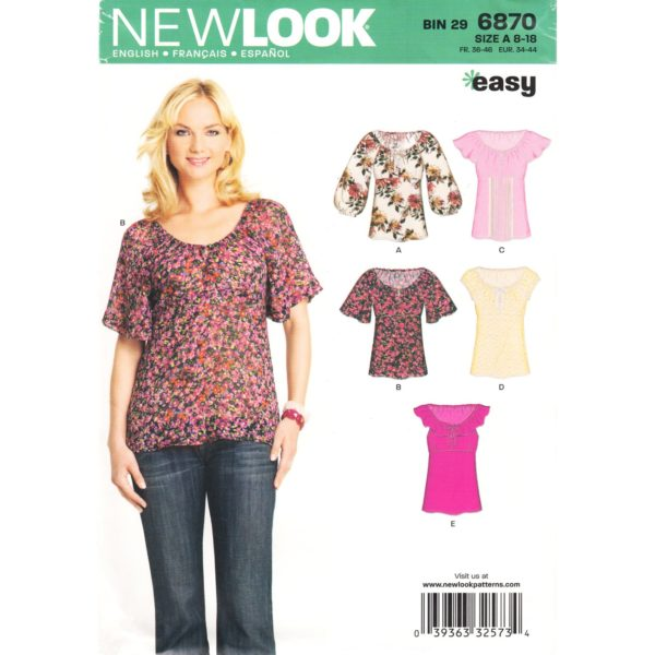 New Look 6870 top pattern